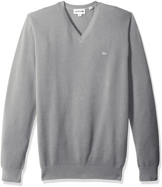 Lacoste Men's Long Sleeve Pique-Mesh Effect-V-Neck Sweater AH4090