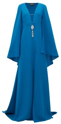 Julie De Libran - Bluebird Crystal-embellished Cape-sleeve Silk Gown - Dark Blue