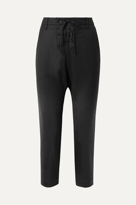Nili Lotan Paris Cropped Lace-up Wool-twill Pants - Black