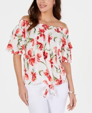 JM Collection Petite Textured Floral Top, Created for Macy's