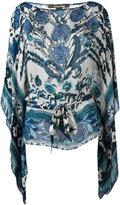 Roberto Cavalli carnation print batwing top - women - Silk - 42