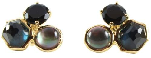 Ippolita 18K Yellow Gold Lago Rock Candy 3 Stone Black Onyx Stud Earrings