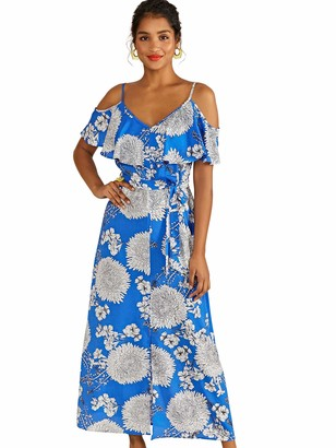 Yumi Blue Floral Frill Maxi Dress