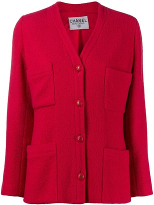 Chanel Pre Owned V-neck buttoned jacket