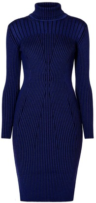 Rumour London Cleo Blue Two-Tone Ribbed Knit Dress