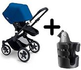 Bugaboo 2015 Buffalo Stroller Complete Set in Black/Royal Blue Canvas Fabric Set + Cup Holder by