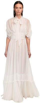 Luisa Beccaria Draped Silk Chiffon & Lace Long Dress