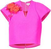 DELPOZO cropped V-neck flower top - women - Acetate/Viscose/Virgin Wool - 40