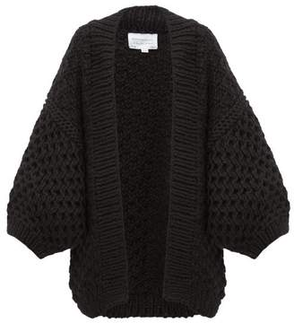 I Love Mr Mittens Oversized Honeycomb Knit Wool Cardigan - Womens - Black