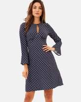 Split Neck Fluted Sleeve Tunic Dress
