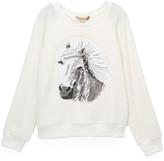 Speechless Ivory Horse Fuzzy Sweatshirt - Girls