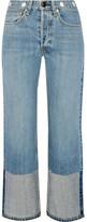 Rag & Bone Embellished Cropped High-rise Straight-leg Jeans - Light denim