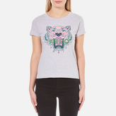 Kenzo Women's Printed Tiger On Cotton Single Jersey TShirt - Light Grey