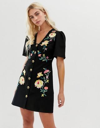 Asos DESIGN embroidered button through mini tea dress