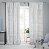 Geo Tile Velvet Flocked Curtain + Blackout Lining - Frost Gray