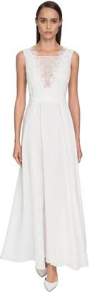 Ermanno Scervino Flared Lace & Linen Dress