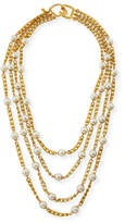 Kenneth Jay Lane Four-Row Pearly Chain Necklace