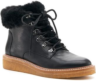 Botkier Winter Demi-Wedge Hiking Booties w/ Faux-Fur Trim