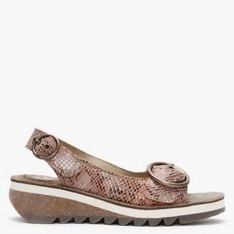 Fly London Tram II Tan Snake Leather Sandals
