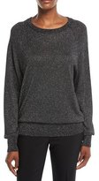 Michael Kors Raglan Long-Sleeve Crewneck Metallic Pullover Sweater