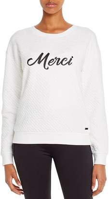 Andrew Marc Quilted Graphic Sweatshirt