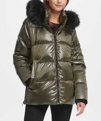 DKNY Women's Puffer Coats LDN:LODEN - Loden Cire Faux Fur-Trim Hooded Puffer Coat - Women & Petite