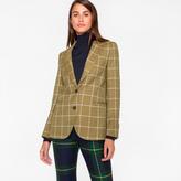 Paul Smith Women's Khaki Windowpane-Check British Wool Blazer