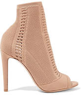 Gianvito Rossi Vires Perforated Stretch-knit Peep-toe Ankle Boots - Sand