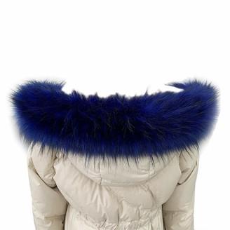 KOOSUFA Faux Fur Collar Trim Hood Fake Fur Scarf Winter Wrap Shawl Neck Warmer for Coat Jacket Collar (Blue 80)