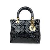 Christian Dior Lady Blue Patent leather Handbags