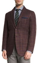Kiton Cashmere Check Sport Coat, Brick Multi Check