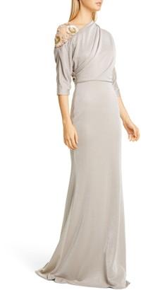 Badgley Mischka Floral Beaded Asymmetrical Shimmer Gown