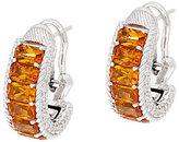 Judith Ripka Sterling Gemstone Baguette Hoop Earrings