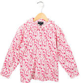 Oscar de la Renta Girls' Floral Print Button-Up Top