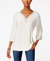 Style&Co. Style & Co. Grommet-Trim Pleated Top, Only at Macy's