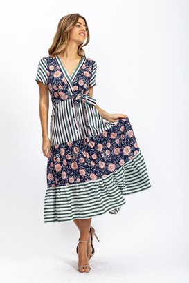Liquorish Stripes and Floral Print Midi Frill Dress