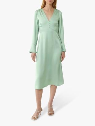 Warehouse Satin Button Front Midi Dress, Mint