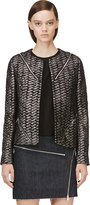 Jay Ahr Black and Metallic Silver Tweed Zip Blazer