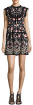 Needle & Thread Whisper Prom Embroidered Mini Dress, Black