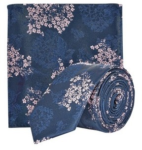 Dorothy Perkins Womens **Burton Navy, Pink China Floral Design Tie And Matching Pocket Square Set
