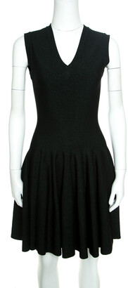 Alaia Black and Green Lurex Knit V Neck Sleeveless Fit and Flare Dress M
