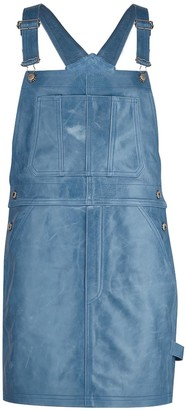 Manley Parker Leather Dungaree Dress - Moody Blue