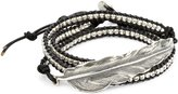 M.Cohen Handmade Designs Silver Feather and Silver Beads On Triple Wrap Bracelet