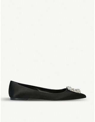 Roger Vivier Flower Strass buckle satin ballerina shoes
