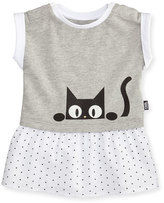 Karl Lagerfeld Cap-Sleeve Jersey & Poplin Mixed-Media Dress, Gray, Size 3-18 Months