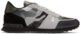 Valentino Black and Grey Garavani Camo Rockrunner Sneakers