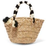 Kayu St Tropez Mini Pompom-embellished Woven Seagrass Tote - Beige