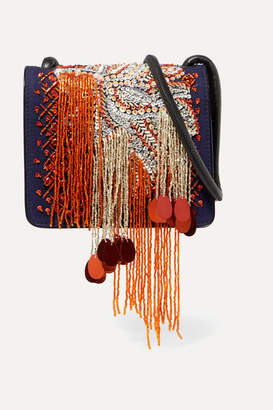 Dries Van Noten Embellished Canvas And Patent-leather Shoulder Bag - Navy