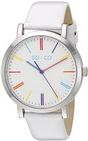 SO&CO New York Unisex 5092.1 SoHo Multicolor Markers White Patent Leather Band