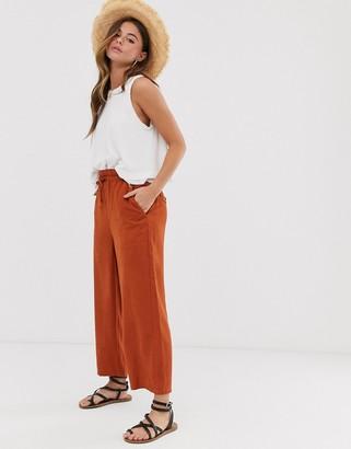 Miss Selfridge paperbag waist pants in rust-Orange